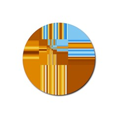 Endless Window Blue Gold Rubber Coaster (round)
