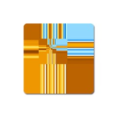 Endless Window Blue Gold Square Magnet
