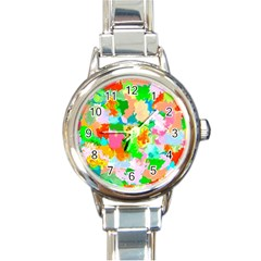 Colorful Summer Splash Round Italian Charm Watch