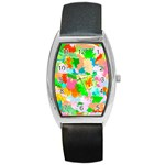 Colorful Summer Splash Barrel Style Metal Watch Front