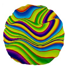 Summer Wave Colors Large 18  Premium Round Cushions