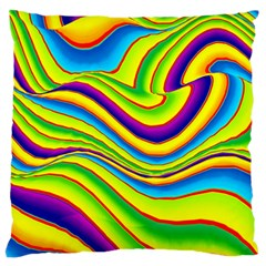 Summer Wave Colors Large Flano Cushion Case (two Sides)