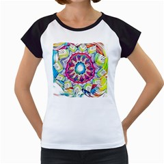 Sunshine Feeling Mandala Women s Cap Sleeve T