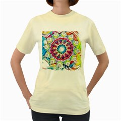Sunshine Feeling Mandala Women s Yellow T Shirt