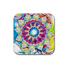 Sunshine Feeling Mandala Rubber Square Coaster (4 Pack)