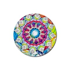 Sunshine Feeling Mandala Rubber Coaster (round)