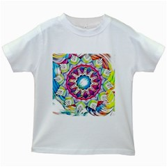 Sunshine Feeling Mandala Kids White T Shirts