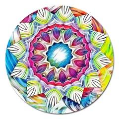 Sunshine Feeling Mandala Magnet 5  (round)