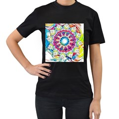 Sunshine Feeling Mandala Women s T Shirt (black) (two Sided)