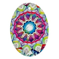 Sunshine Feeling Mandala Oval Ornament (two Sides)