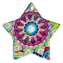 Sunshine Feeling Mandala Star Ornament (two Sides)