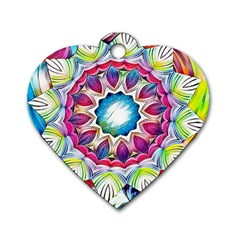 Sunshine Feeling Mandala Dog Tag Heart (two Sides)