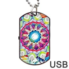 Sunshine Feeling Mandala Dog Tag Usb Flash (one Side)