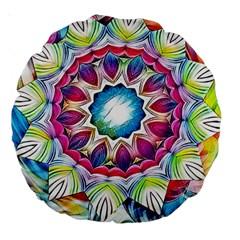 Sunshine Feeling Mandala Large 18  Premium Round Cushions