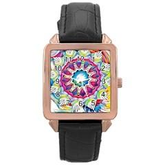 Sunshine Feeling Mandala Rose Gold Leather Watch