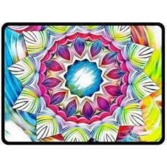Sunshine Feeling Mandala Double Sided Fleece Blanket (large)