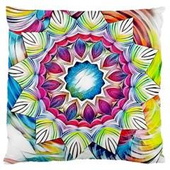 Sunshine Feeling Mandala Large Flano Cushion Case (two Sides)