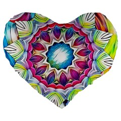 Sunshine Feeling Mandala Large 19  Premium Flano Heart Shape Cushions