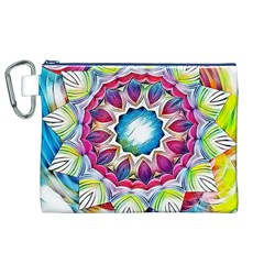 Sunshine Feeling Mandala Canvas Cosmetic Bag (xl)