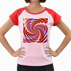 Woven Colorful Waves Women s Cap Sleeve T Shirt
