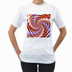 Woven Colorful Waves Women s T Shirt (white) (two Sided)