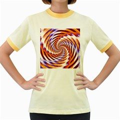 Woven Colorful Waves Women s Fitted Ringer T Shirts