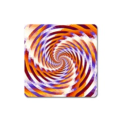 Woven Colorful Waves Square Magnet