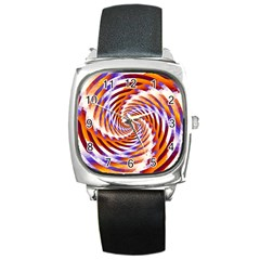 Woven Colorful Waves Square Metal Watch