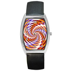 Woven Colorful Waves Barrel Style Metal Watch