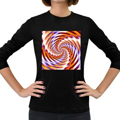 Woven Colorful Waves Women s Long Sleeve Dark T Shirts