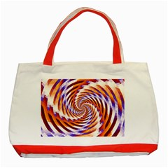 Woven Colorful Waves Classic Tote Bag (red)