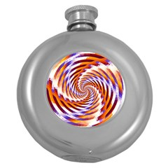 Woven Colorful Waves Round Hip Flask (5 Oz)