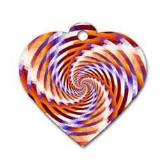 Woven Colorful Waves Dog Tag Heart (one Side)