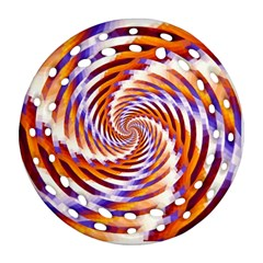 Woven Colorful Waves Round Filigree Ornament (two Sides)