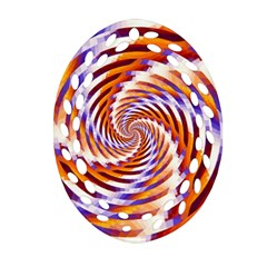 Woven Colorful Waves Oval Filigree Ornament (two Sides)