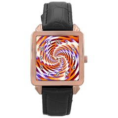 Woven Colorful Waves Rose Gold Leather Watch