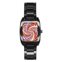 Woven Colorful Waves Stainless Steel Barrel Watch