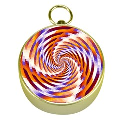 Woven Colorful Waves Gold Compasses