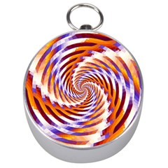 Woven Colorful Waves Silver Compasses