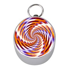 Woven Colorful Waves Mini Silver Compasses