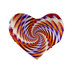Woven Colorful Waves Standard 16  Premium Flano Heart Shape Cushions