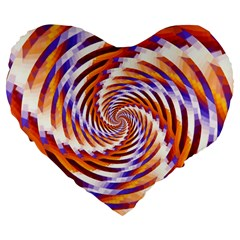 Woven Colorful Waves Large 19  Premium Flano Heart Shape Cushions