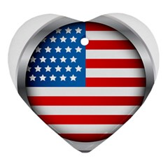 United Of America Usa Flag Heart Ornament (two Sides)