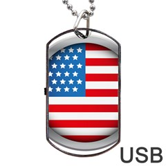 United Of America Usa Flag Dog Tag Usb Flash (two Sides)
