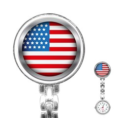 United Of America Usa Flag Stainless Steel Nurses Watch