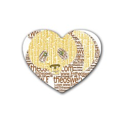 Panda Typography Rubber Coaster (heart)