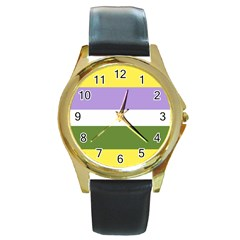 Bin Round Gold Metal Watch