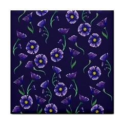 Floral Violet Purple Tile Coasters