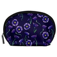 Floral Violet Purple Accessory Pouches (large)