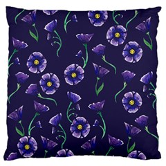 Floral Violet Purple Large Flano Cushion Case (two Sides)